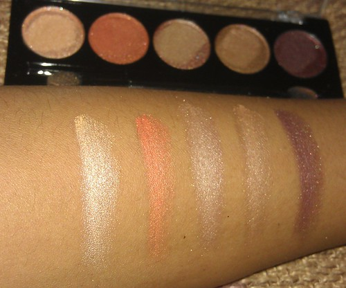 L.A. Colors 5 Metallic Eyeshadow Desert Dune palette swatches