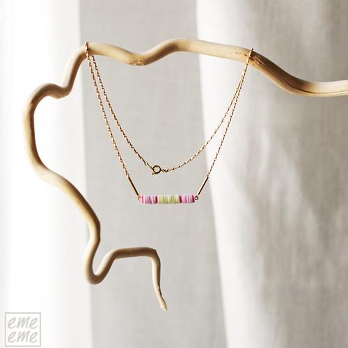 Necklace,Vintage,European,Sequins,Raw,brass,chain,Choker,Pink,Green,Fuchsia,collar,gargantilla,lentejuelas,cadena,dorada,gold,emeeme