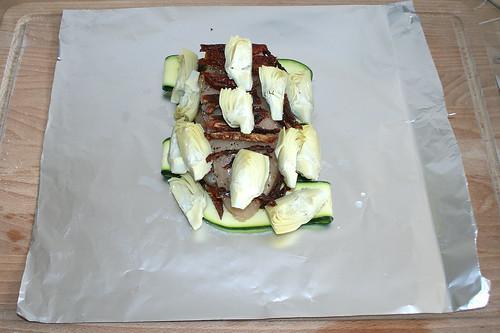 26 - Artischockenherzen anordnen / Add artichoke hearts