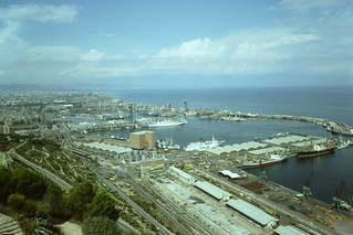 Barcelona port seen from castle