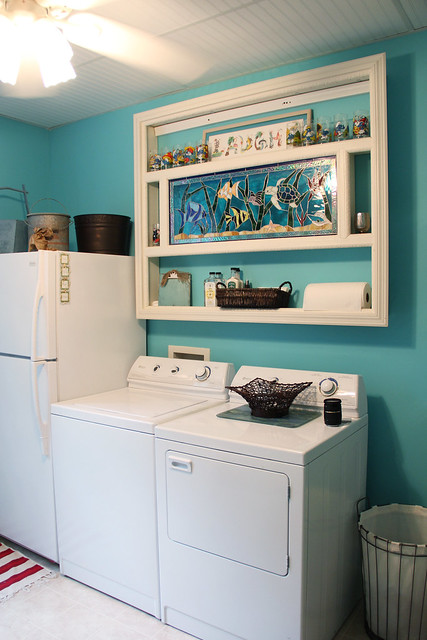 aqua blue laundry room