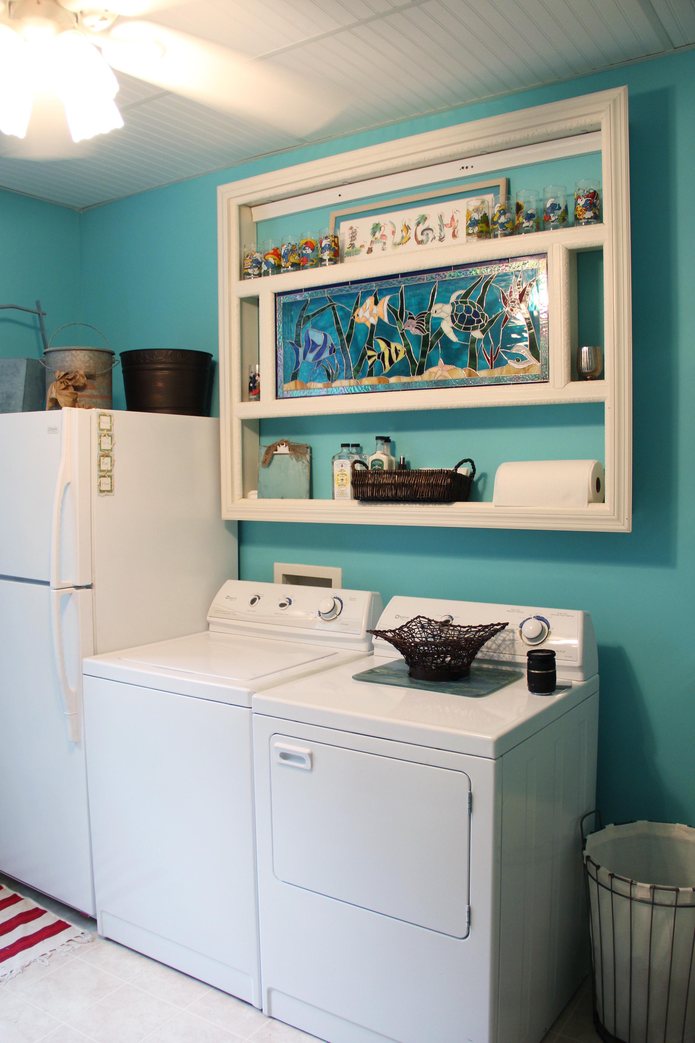 aqua blue laundry room