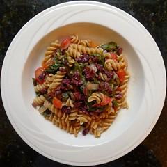 spaghetti(0.0), produce(0.0), pasta salad(1.0), fusilli(1.0), pasta(1.0), food(1.0), dish(1.0), cuisine(1.0),