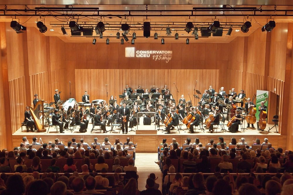 Chicago Youth Symphony Orchestra performs in the Conservatori Liceu in Barcelona, Spain