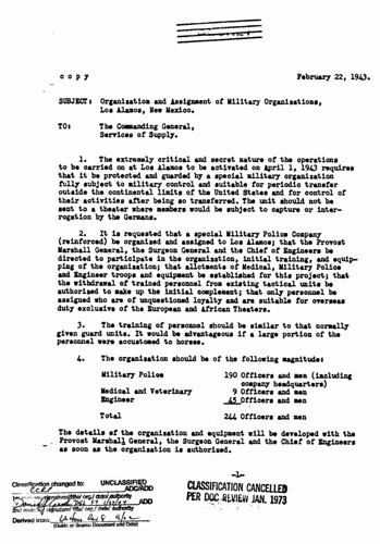 Project Security February 22 1943