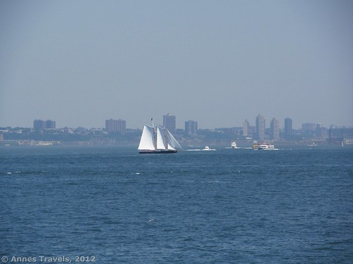 A two-masted schooner in New York Harbor