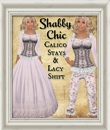 Shaby Chic Pink Calico Shift and Stays by Shabby Chics