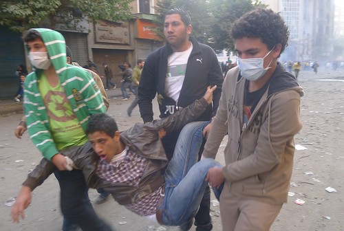 4 February 2012 - Tear gas casualty on Mohamed Mahmoud Street.