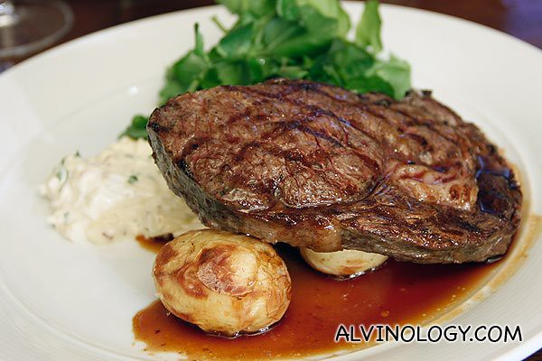 250gm Certified 'Black Angus' Fillet, celeriac remoulade, steak fries, watercress & red wine sauce (AUD$34)