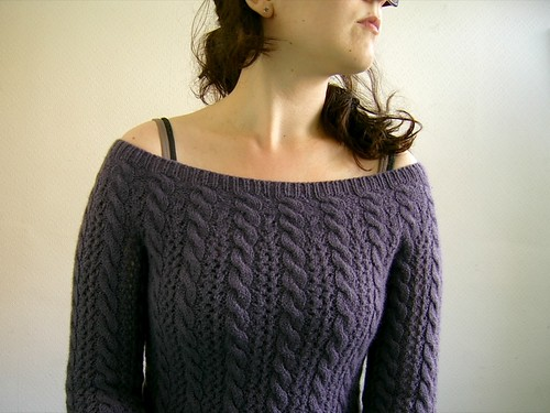 lace and cable jumper: neck detail