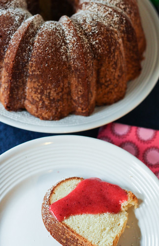 Cream Cheese Pound Cake w/ Strawberry Coulis