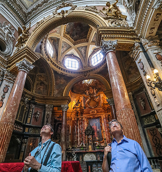 Cornell in Rome's 30th anniversary will be celebrated in March 2017. Meanwhile, each week, we are taking a trip down memory lane. IMAGE: Professor Jeffrey Blanchard (l) and William Cunningham '73 (r) in The Royal Church of San Lorenzo, designed and built by Guarino Guarini between 1668–87.   photo / Bob Joy (B.Arch. '72)