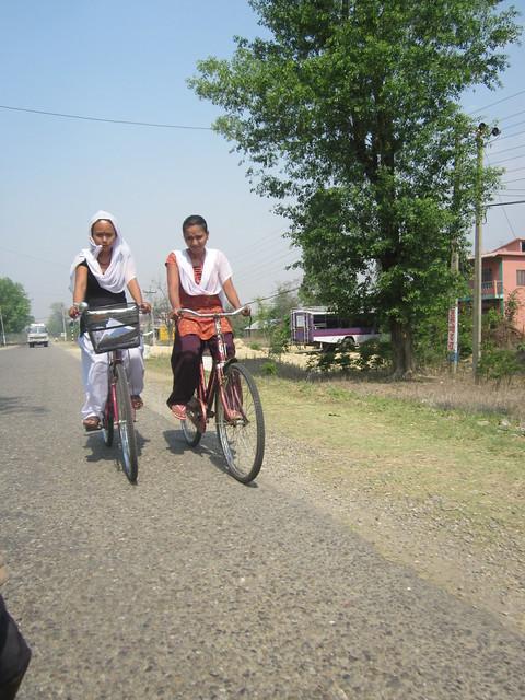Nepali girls on bikes