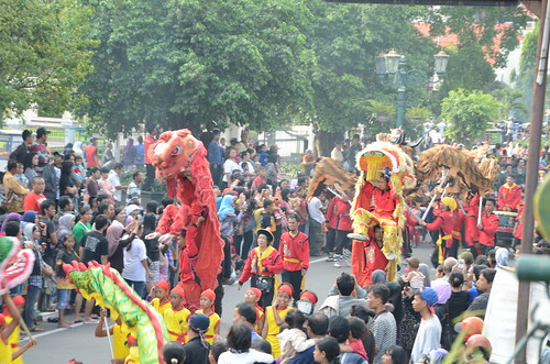 Barongsai and Liong in Peace Torch of Yogyakarta