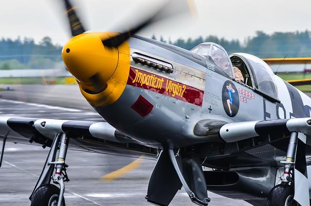 """Taxiing in P-51B Mustang """"Impatient Virgin"""""""