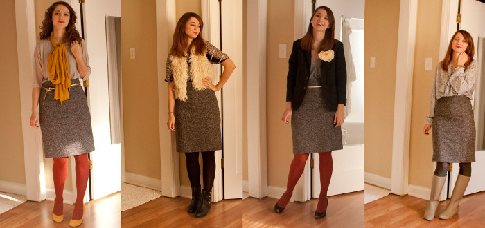 remix, tweed pencil skirt, four ways to wear, office attire, business casual, creative young professional, dash dot dotty, ootd, outfit ideas