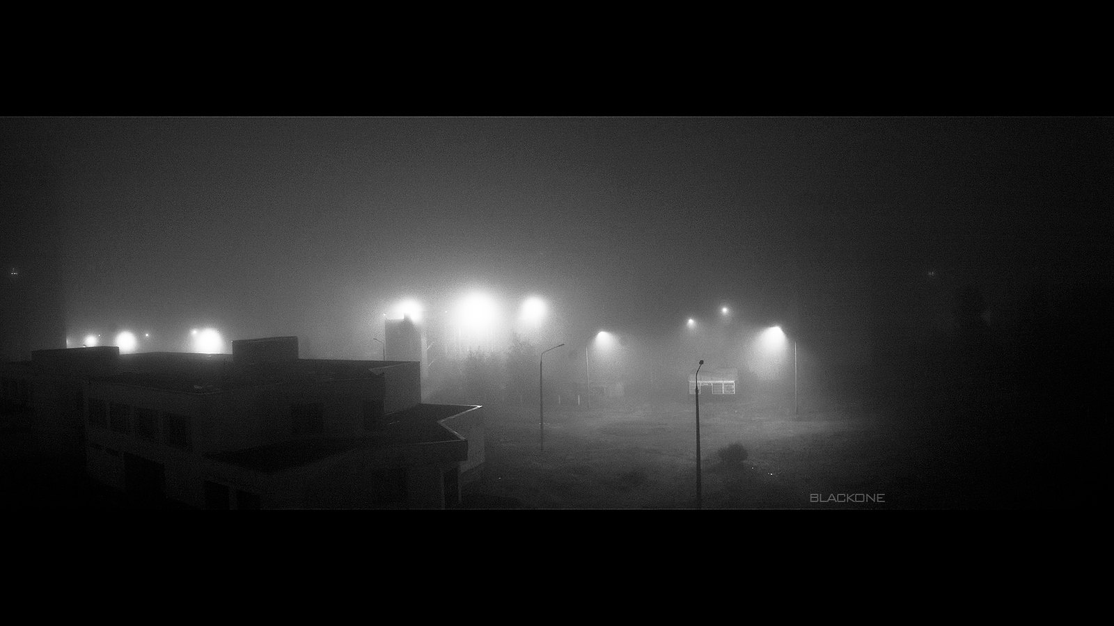 Туман накрыл Киев, глубокая ночь