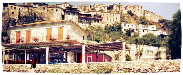 Stone houses in the hills, Plomari, Lesbos, Greece