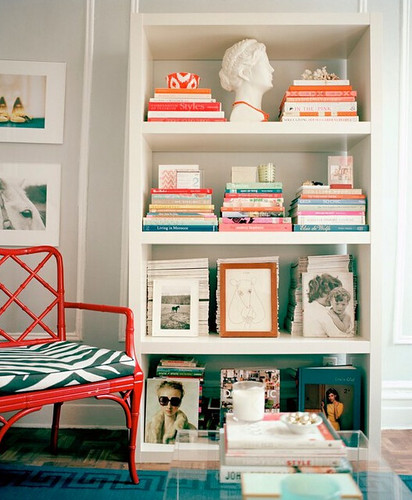 lony - love the red chair and nice shelf scape