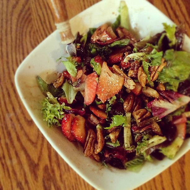 Lunch today:  salad with strawberries and roasted pecans with a bit of Balsamic vinaigrette.