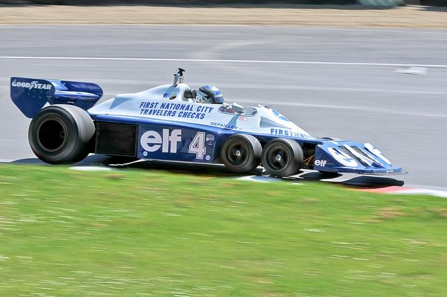 F1 Masters Historic Festival Brands Hatch - 6 Wheel Tyrrell lifts its wheels