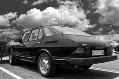 automobile, vehicle, automotive design, saab automobile, sedan, land vehicle, saab 900, luxury vehicle, black-and-white, hatchback,
