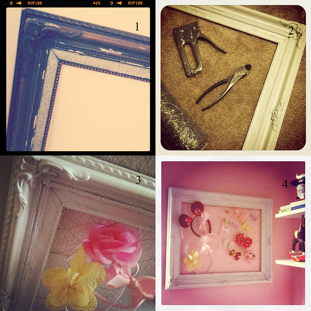 Before and After - $1 garage sale frame turned into headband/bow holder