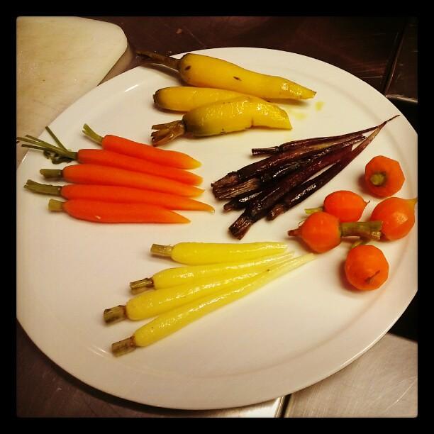 Different kind of carrots at Quarter Twenty One cooking school, Sydney