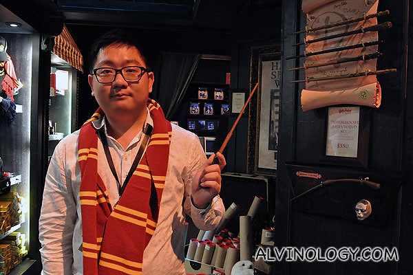 Me, decked in Hogwarts scarf and wand from the gift shop