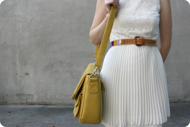 lace top and pleated skirt