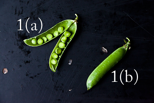 The sugars in these plants also begin to degrade into starch after harvest, which is why the sweetest snap pea is one that you eat from the vine! Shelling Peas 1(a). The Pods - To open a pea pod, pull down on the stem to string it and gently push out the attached peas. Shelling a pound of peas can take a while, so enlist a friend and get some gossip in while you work! (We halved this pod with a knife just for show, so don't do that.) 1(b). Buying Guide - When you're buying shelling peas at market, look for firm, round pods 3-4 inches long that rattle just a little when you shake them. They should be smoothly green and unblemished -- the peas hit peak sweetness and then rapidly become starchy, so avoid older-looking pods. @food52