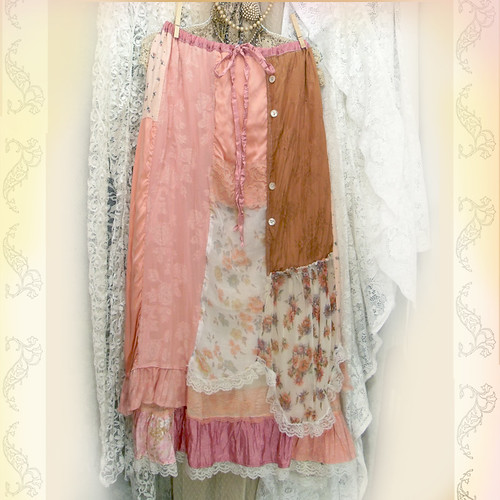 Layered Maxi Skirt Patchwork And Ruffles Shabby Pink Boho Prairie Chic