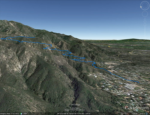 Echo Mountain trail Google Earth