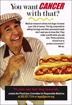 "Hot Dogs—""You want cancer with that?"""