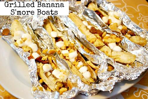 Grilled Banana Smore Boats