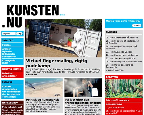 Kunsten.nu frontpage - PlayForm review