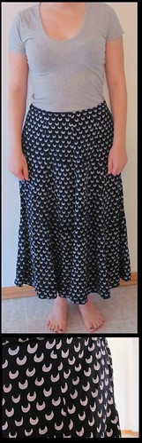07 navy white crescent moon maxi skirt