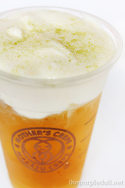 Jasmine Green Tea with Cream Cheese Topping and Green Tea Powder 12oz P80 16oz P90