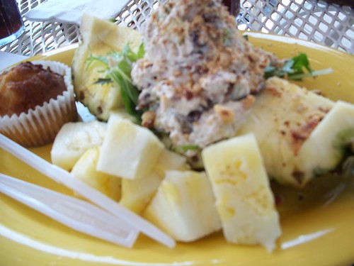 Chicken salad pineapple boat