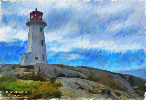 Peggys Point Lighthouse, a digital oil painting.
