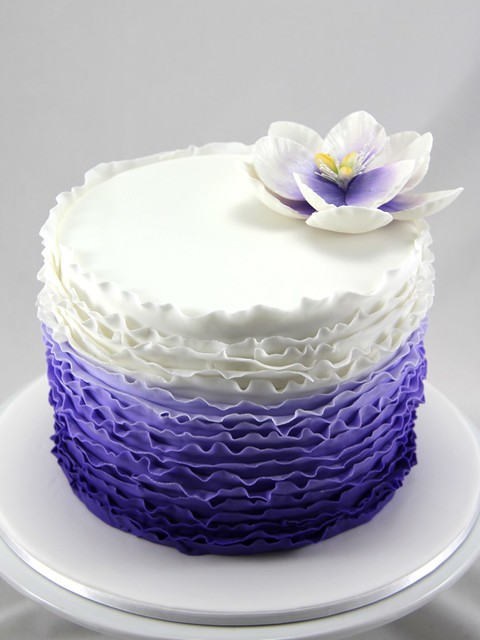 Ombre Purple Ruffle Cake | Flickr - Photo Sharing!