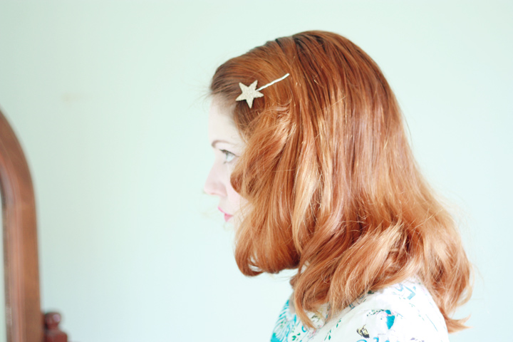 star glitter red hair pin curls