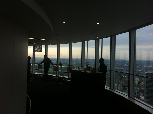 The finalists waiting for the BT Cocktail Competition to start at the top of the BT Tower