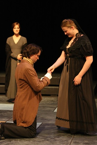 Brittany Falardeau, Jeremy Thompson, & Angela Graham in All's Well that Ends Well. 2012, Great River Shakespeare Festival, directed by Rick Barbour. Photo by Kathy Christenson