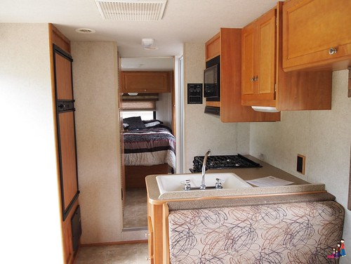 RV kitchen and bedroom