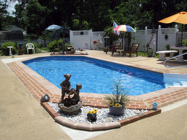 Inground swimming pool rectangle grecian brick and concret for Grecian pool dimensions