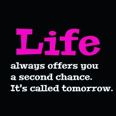 Life always offers you a second chances. It's called tomorrow.