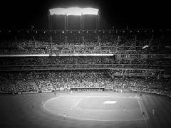 View From Left Field Foul Pole Area - B&W Version; Corona, New York