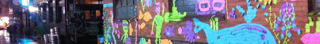 Post-it note art mural detail