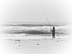 fishing, sea, ocean, casting fishing, wind, monochrome photography, surf fishing, wave, shore, monochrome, coast, black-and-white,